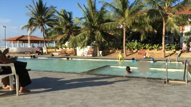 The swimming pool at the Thalsevana resort in Sri Lanka