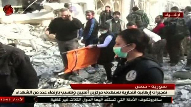 Screengrab from Al-Ikhbariya Al-Souriya TV channel on 25 February 2017 shows aftermath of Homs attack