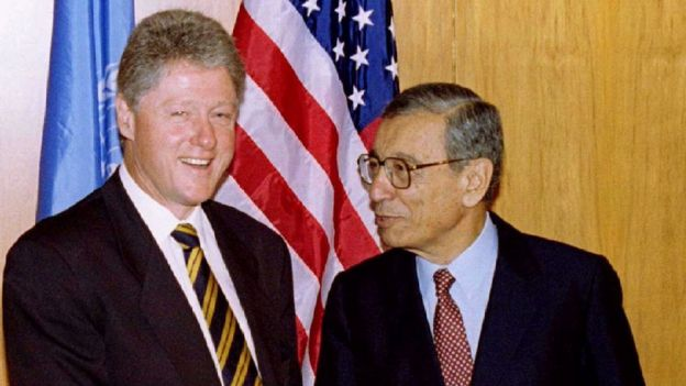 Former United Nations Secretary-General Boutros Boutros-Ghali and U.S. President Bill Clinton are seen in this 1996 file photo at the United Nations.