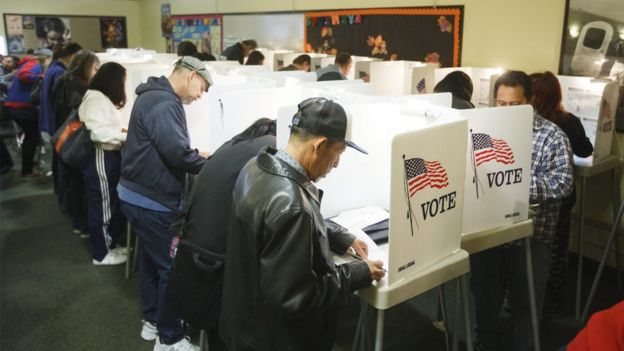 Early voters at a polling place in North Hollywood, California