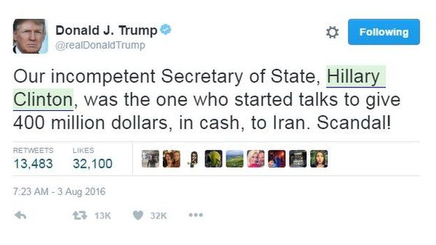 Donald Trump tweets:
