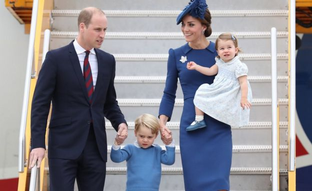 The Duke and Duchess of Cambridge, Prince George and Princess Charlotte arriving in Canada