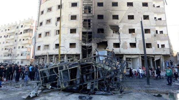 Site of the suicide bombings near the Sayyida Zeinab shrine, outskirts of Damascus (31 January)