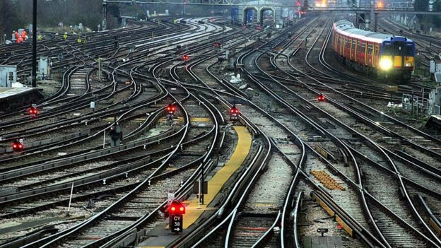Railway lines outside Clapham Junction station in London