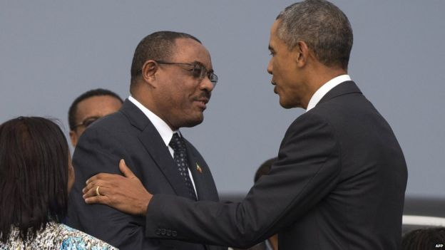 Barack Obama, right is greeted by Ethiopian Prime Minister Hailemariam Desalegn. 26 July 2015