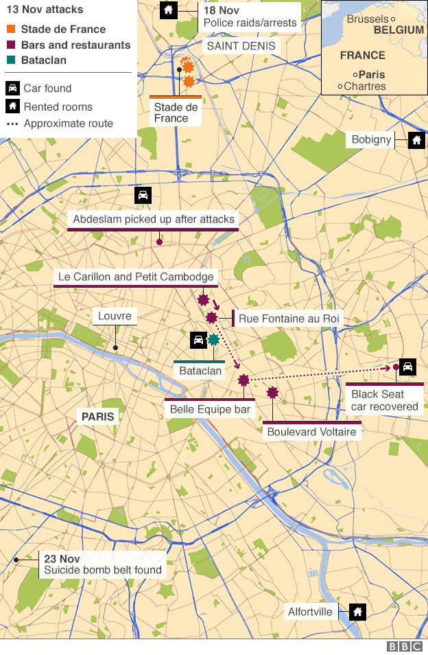 Map of Paris showing site of attacks and other related locations