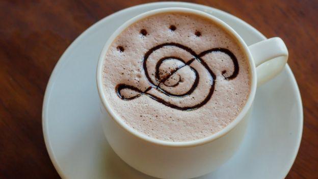 Café con diseño de nota musical