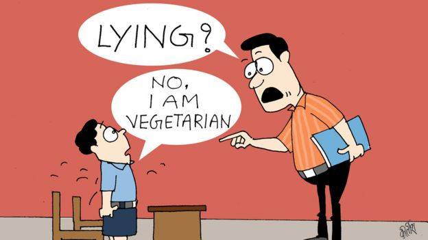 Cartoon: Teacher asks 'lying?', student says,