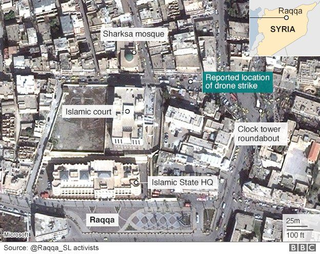 A map showing the reported location of the drone strike which reportedly killed Mohammed Emwazi
