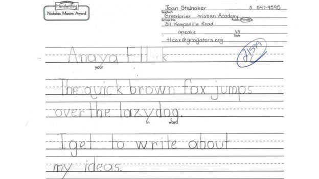 Picture showing Anaya Ellick's entry for handwriting contest