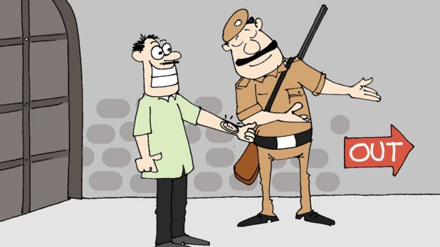 A cartoon shows a convict posing as a visitor to escape the prison