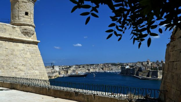 A general view from St. Peter's Bastion across Grand Harbour on May 15, 2014 in Valletta, Malta