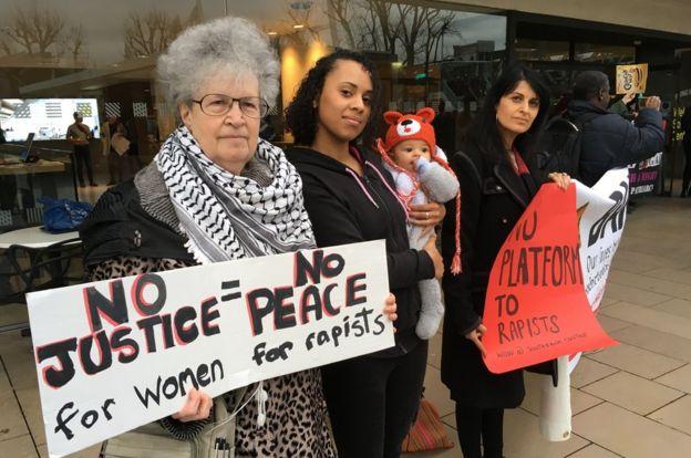 Diane Langford, Yami and Mila Manchanda and Claudia Manchanda at the protest outside the Royal Festival Hall