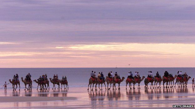 Tourists ride camels along Broome's Cable Beach, Western Australia