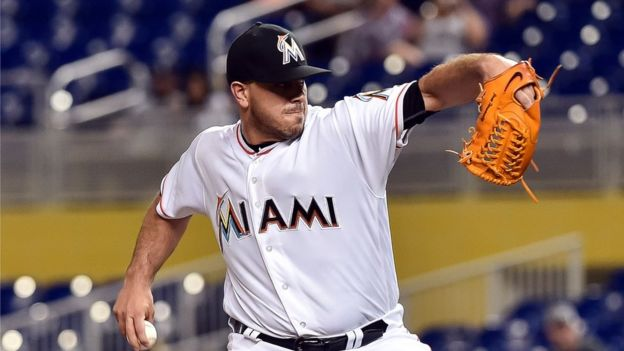 Miami, FL, USA; Miami Marlins starting pitcher Jose Fernandez delivers a pitch during the first inning against the Washington Nationals at Marlins Park.