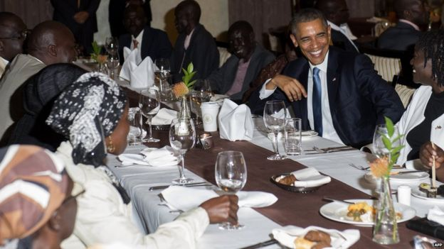 President Obama at a family gathering at his hotel in Nairobi, 24 July 2015