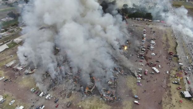 Drone footage shows smoke billowing from the San Pablito market in Tultepec, Mexico, Tuesday, Dec. 20