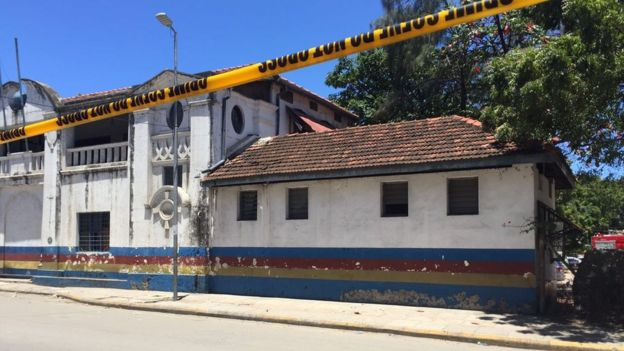 Scene in Mombasa where three women were killed after trying to stage an attack at the main police station