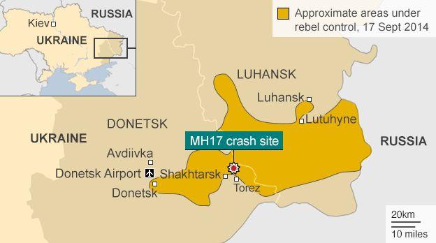 Карта, що показує місце падіння рейсу MH17 і районах східної України під контролем повстанців