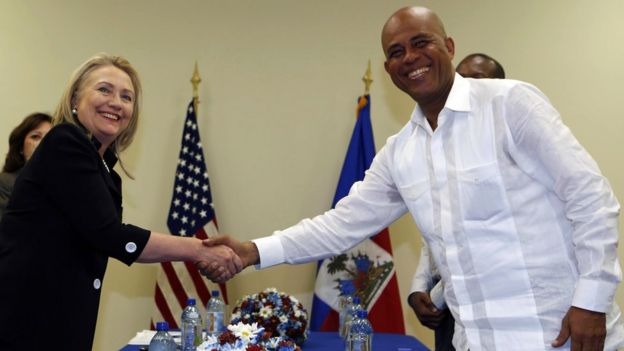 Hillary Clinton and Haitian President Michel Martelly at Caracol Industrial Park in October 2012