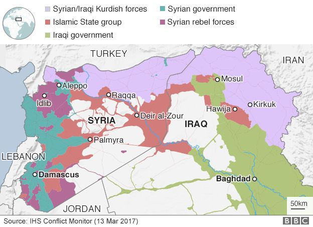 Map of Syria and Iraq showing territorial control, 13 March 2017