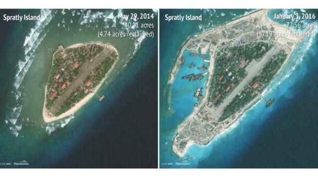 Hình ảnh so sánh cho thấy quy mô cải tạo đảo Trường Sa Lớn của Việt Nam