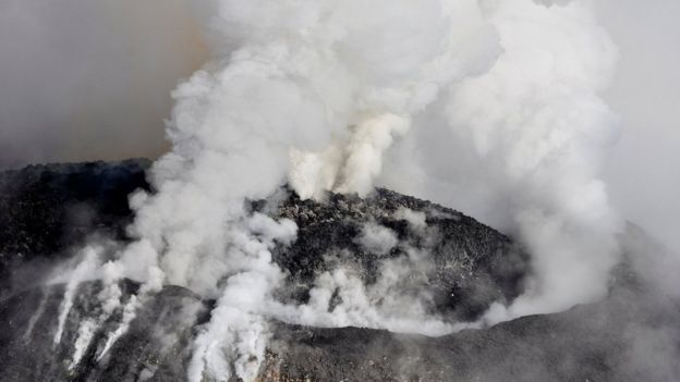 The volcano is spewing ash, smoke and lava from its crater (source: Reuters)