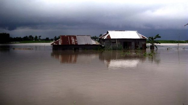 Severe flooding has affected the Jamalpur district in Bangladesh near the Indian border