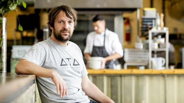 Danish chef Rene Redzepi, co-owner of the restaurant Noma in Copenhagen, Denmark, poses for a photograph prior to a premiere of 'Ants on a Shrimp' in Amsterdam