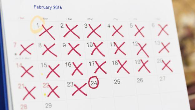 Calendário com marcação do ciclo menstrual