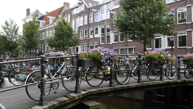 Canal en Ámsterdam, Holanda