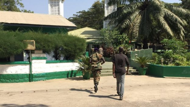 Soldiers heading to Friday prayers at State House in Banjul