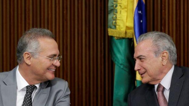 Renan Calheiros (a la izquierda) en reunión con el presidente Temer