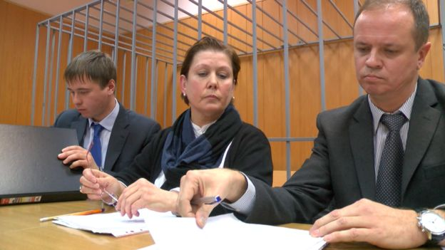 Natalia Sharina in court with her lawyers (2 Nov)