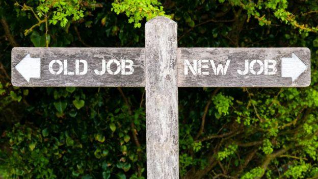 Old job/new job signpost