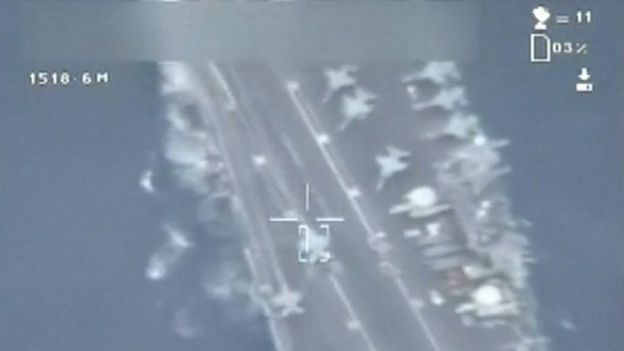 Image made from video broadcast on Iranian state TV on Friday 29 January 2016 showing what purports to be drone footage of a US aircraft carrier