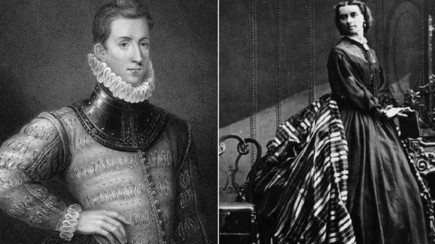 An Elizabethan man and Victorian woman