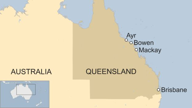 Map shows Ayr, Bowen and Mackay, the areas of Queensland bracing for Cyclone Debbie
