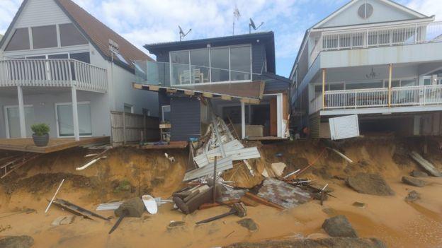 Damaged houses on Sydney's Collaroy Beach