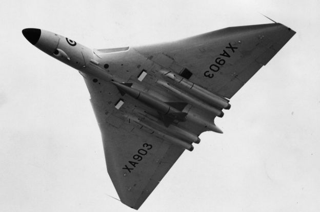 Avro Vulcan at the Farnborough air show, Sept 1958 with nuclear 'stand off' bomb