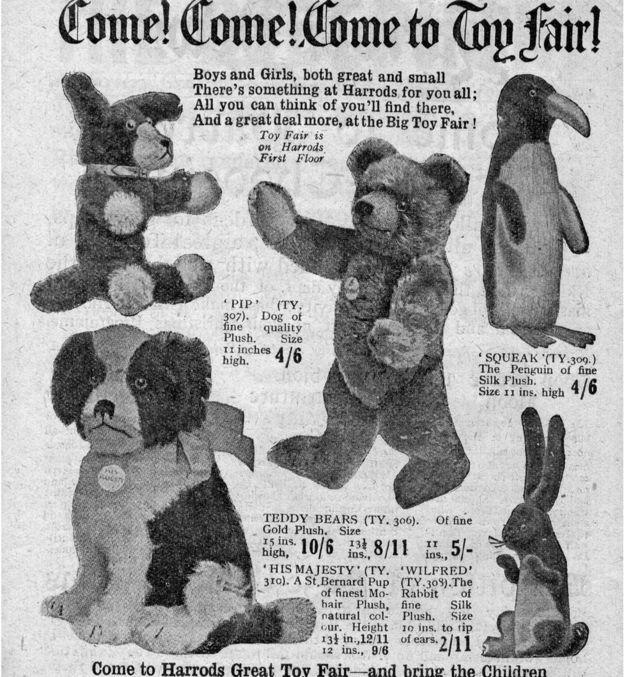 Squeak the penguin in the 1922 Harrods's catalogue