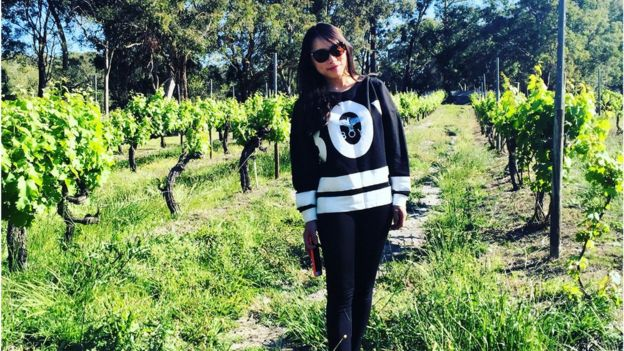 Rika Wenjing in a vineyard