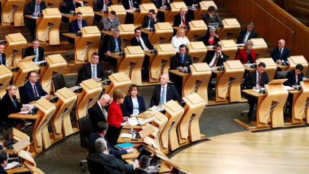 El Parlamento de Escocia en plena sesión