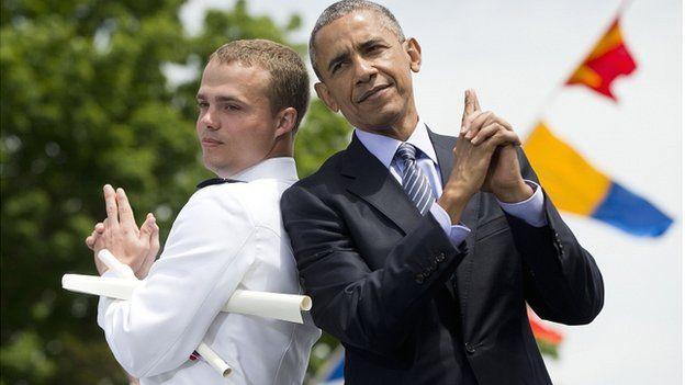 Obama at coastguard graduation