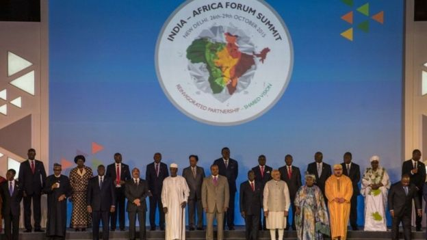 Indian Prime Minister Narendra Modi (9R) stands among other African Heads of State and representatives during a group photograph at the India-Africa Forum Summit in New Delhi on October 29, 2015.