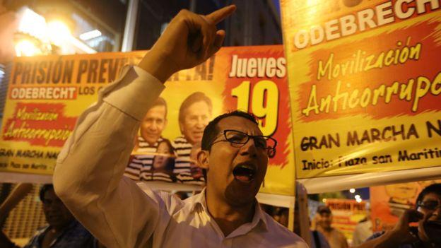 Manifestantes en Lima