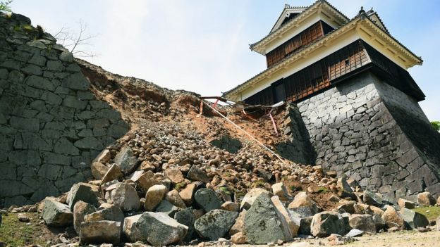 The stone wall of Kumamoto Castle is seen damaged by the earthquake