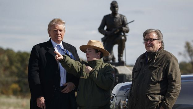 Donald Trump with park ranger Caitlin Kostic and Steve Bannon