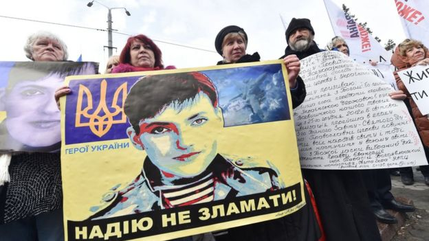 Protesters outside the Russian embassy in Kiev, 9 March