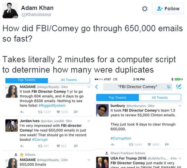 Foto de una pantalla con numerosos tuits cuestionando la lectura de los mails.